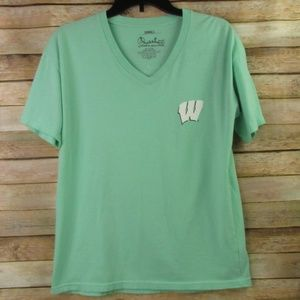 Wisconsin Badgers Mint Green V-Neck Tee S